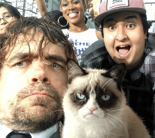 cute Game of Thrones peter dinklage selfie Grumpy Cat - 8237606400