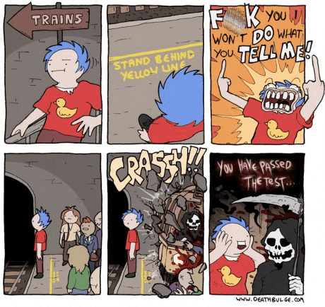 Death,trains,tests,web comics,death bulge
