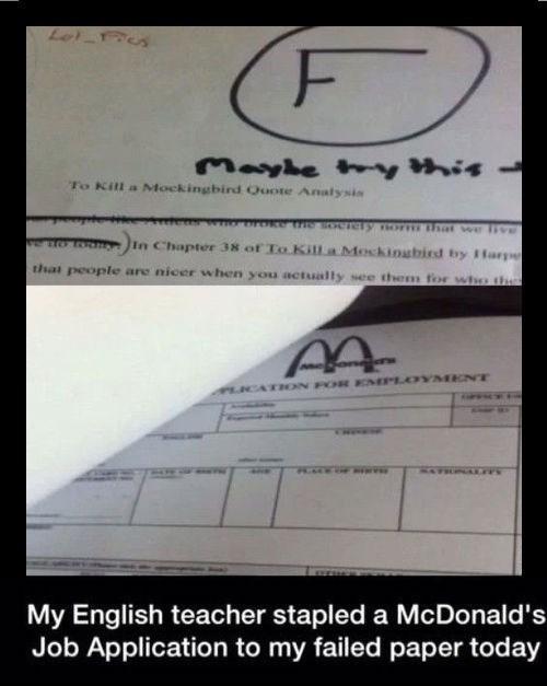 FAIL career McDonald's paper - 8240376320