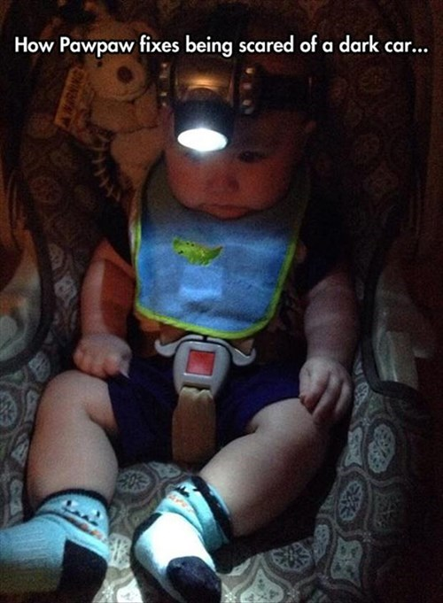 baby,cars,dark,Grandpa,parenting,head lamp