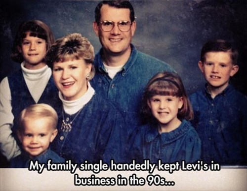 90s denim family photo family portrait nineties poorly dressed