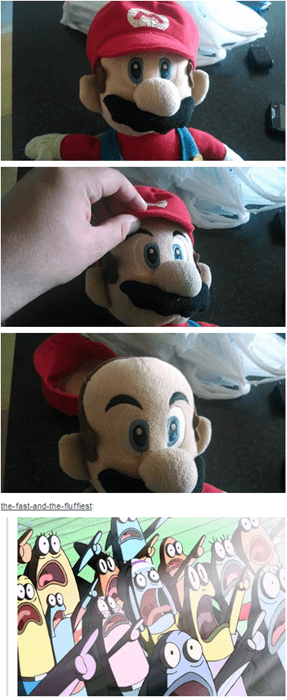 creepy mario noooo tumblr what's under the hat