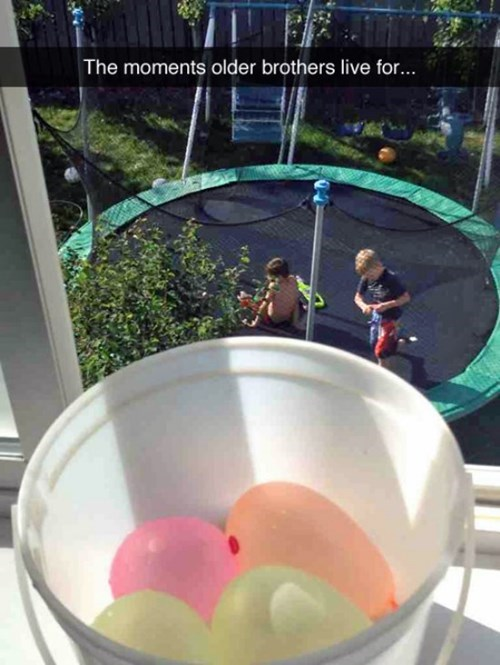 water balloon,sibling rivalry,summer,siblings,parenting,trampoline