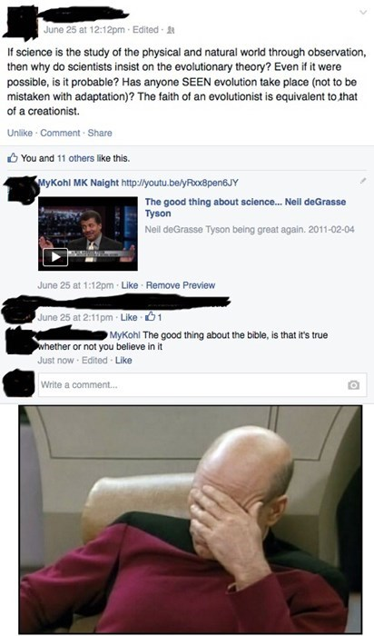 facepalm evolution science failbook - 8240704256