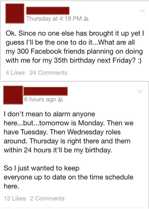 birthdays forever alone facebook