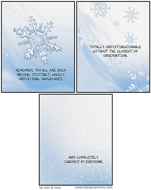 existentialism,snow,snowflakes,web comics,the indifference of nature