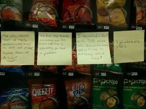 break room,post it,fritos,monday thru friday,snack,vending machine