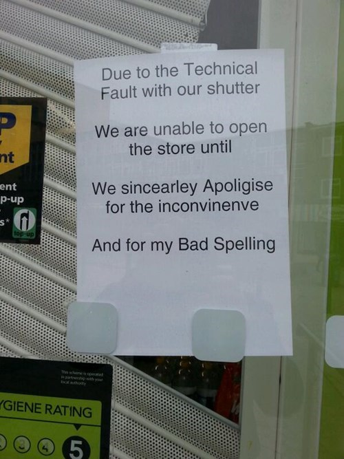 apology,monday thru friday,spelling,sign,note,g rated