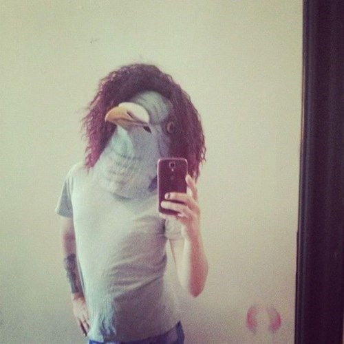 mask,pigeon,poorly dressed,selfie,pigeon mask