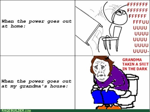 grandma table flipping rage power outage - 8241859840