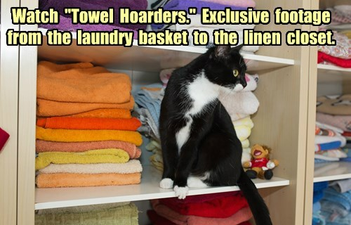"Watch ""Towel Hoarders."" Exclusive footage from the laundry basket to the linen closet."