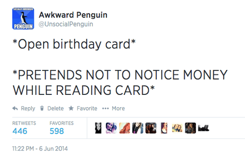 birthday,free stuff,socially awkward penguin,twitter,failbook,g rated
