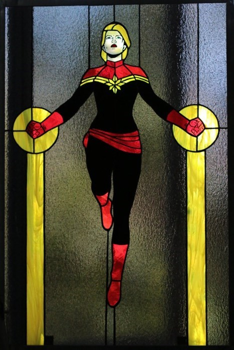comics,captain marvel,superheroes,nerdgasm,stained glass