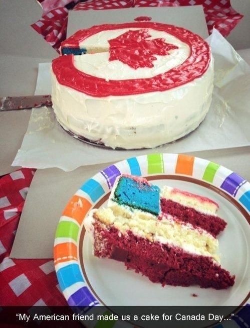 america,cake,Canada,trolling