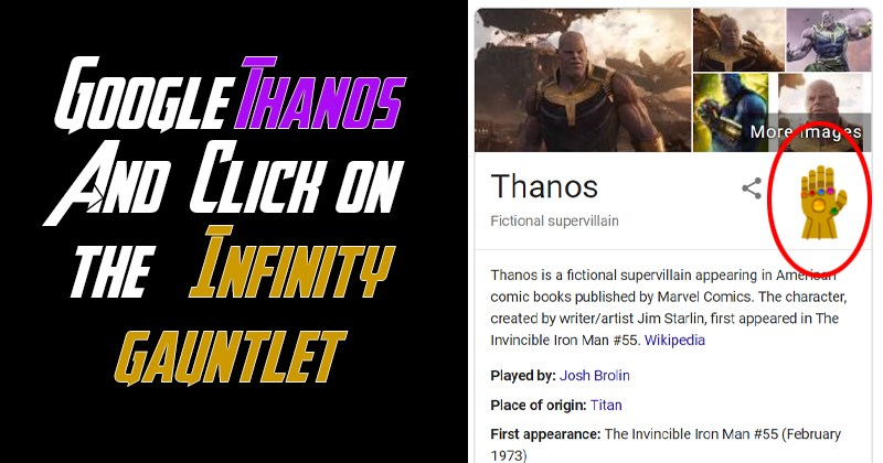 Google Thanos, google search easter egg, search thanos, marvel, avengers: endgame, avengers, marvel cinematic universe.