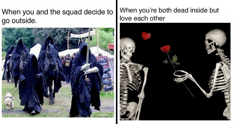 Dark memes, goth memes, funny goth memes, relatable memes, relatable goth memes, goth fashion, disney, disney memes | lord of the rings ringwraiths nazgul walking a dog and squad decide go outside. GTHEUCUENADE | both dead inside but love each other skeleton offering a rose to another skeleton