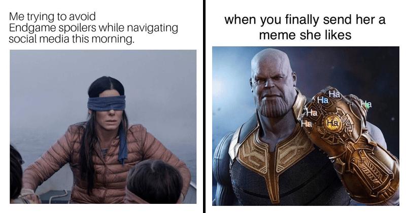 Funny avengers memes, no spoilers, marvel memes, avengers: endgame, thanos, thanos memes, thor, loki, captain america, the incredible hulk, avengers:endgame memes.