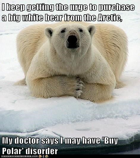 I keep getting the urge to purchase a big white bear from the Arctic, My doctor says I may have 'Buy Polar' disorder