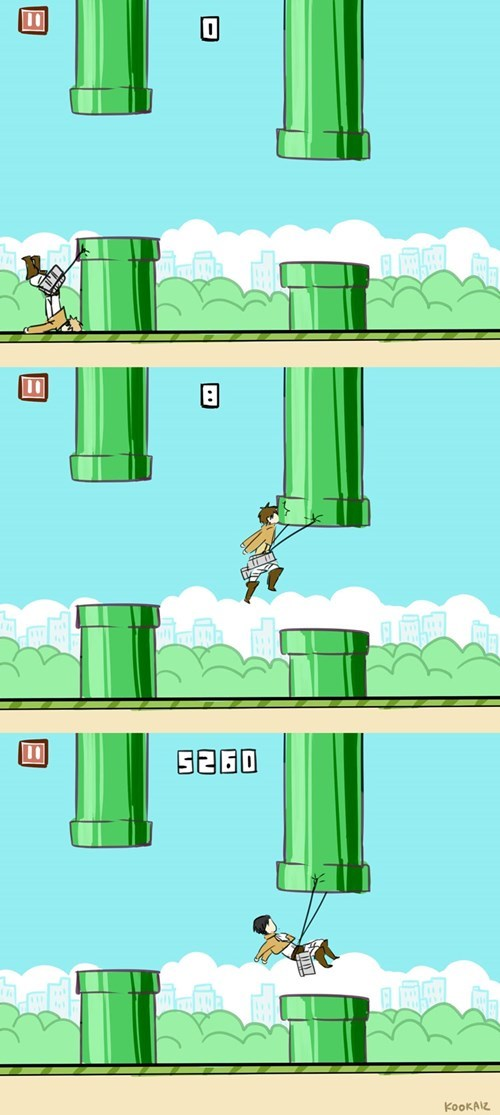 pipes,attack on titan,flappy bird