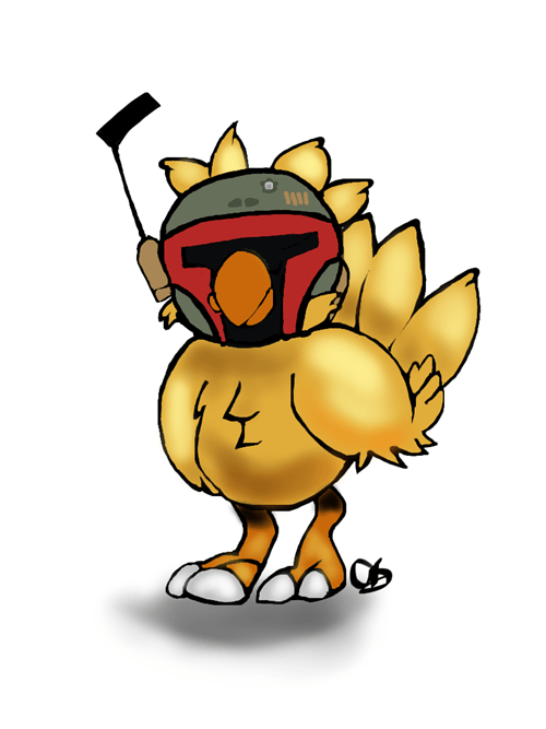 boba fett,crossover,chocobo,Fan Art