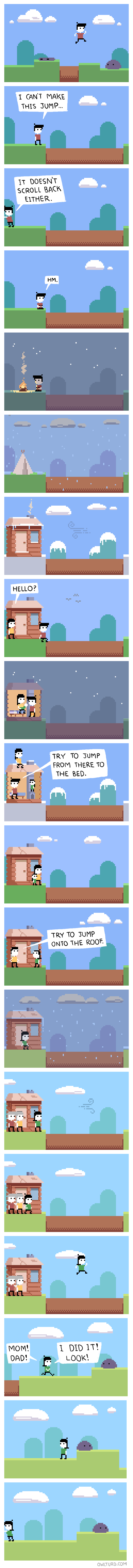 gaming video games scrolling Sad platformers web comics
