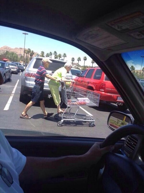 old people rock,shopping cart