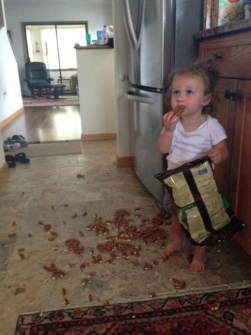 kids,snack,parenting,spill,pretzels,mess