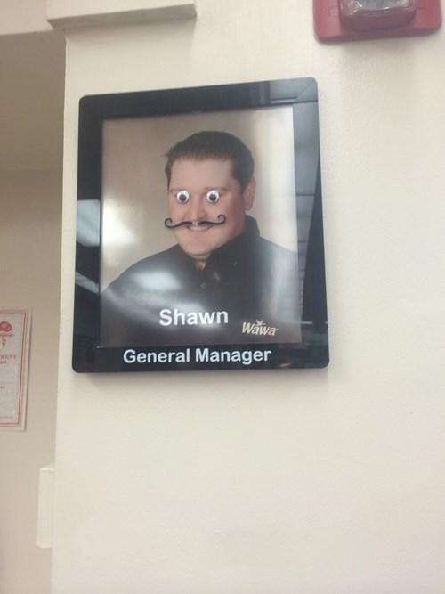 googly eyes manager monday thru friday moustache mustache wawa - 8248770816