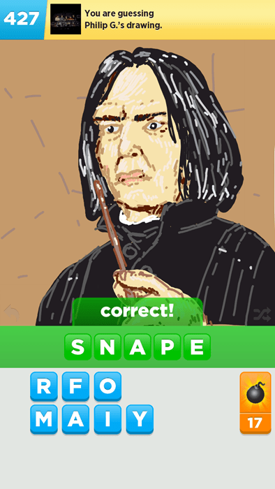 draw something,Harry Potter,phone,snape,mobile games