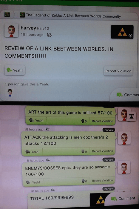 The Miiverse Reveiw of A Link Beetween Worlds
