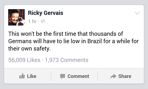 brazil Germany ricky gervais world cup - 8249025280