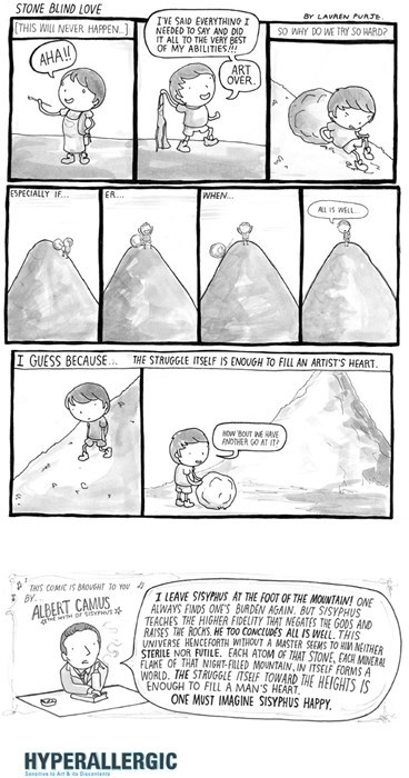art,albert camus,never give up,the struggle is real,web comics