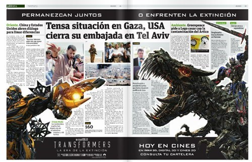 transformers,news,facepalm,ad placement,juxtaposition,newspaper