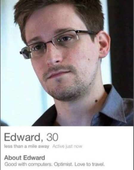 edward snowden,tinder,online dating,funny