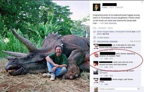 steven spielberg,facebook,jurassic park,funny,stupid,dinosaurs