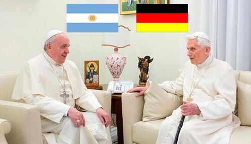It's a PRAY-OFF, Pope Benedict XVI v. Pope Francis for the World Cup Final!