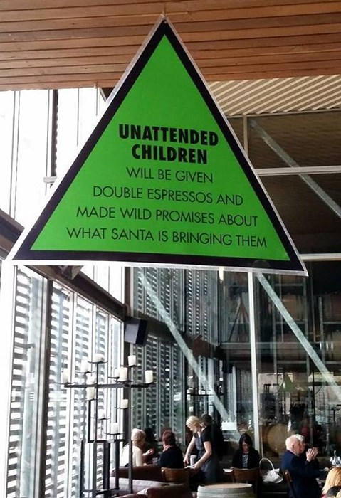 monday thru friday coffee shop warning sign unattended children parenting coffee g rated - 8250951168
