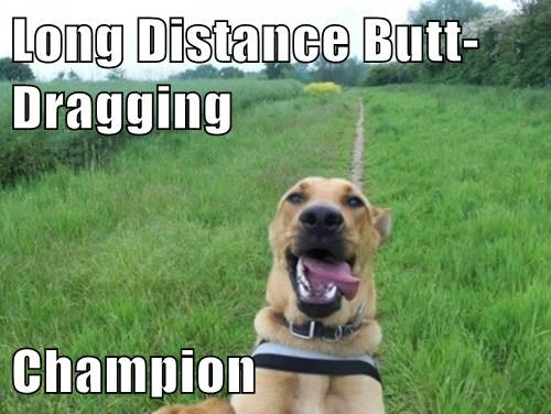 Long Distance Butt-Dragging Champion