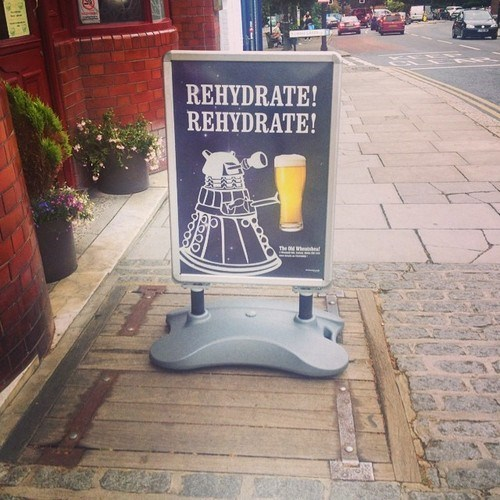 beer,daleks,doctor who,Exterminate,funny,sign,after 12,g rated