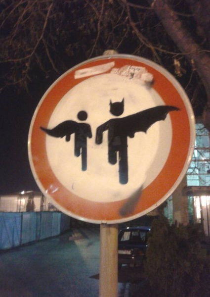sign,graffiti,hacked irl,batman
