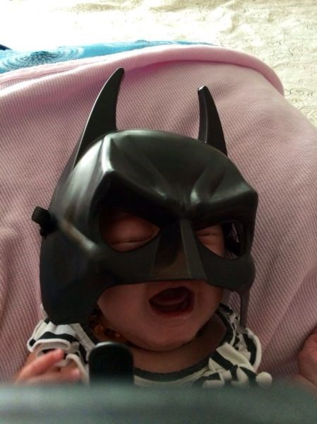 costume,baby,expression,mask,parenting,batman,crying