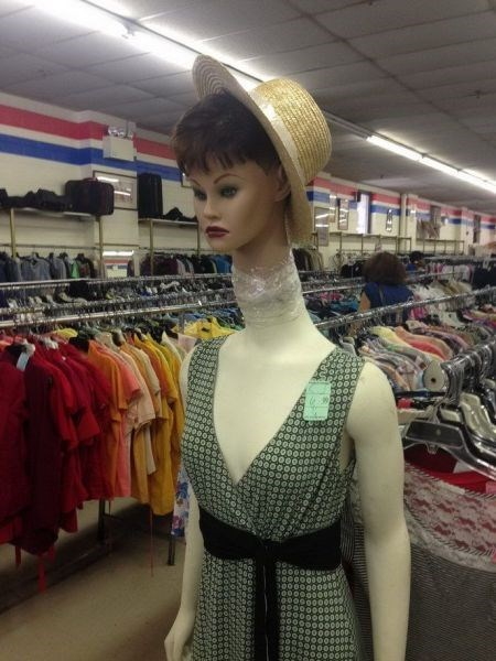 monday thru friday,thrift shop,poorly dressed,retail,tape,mannequin