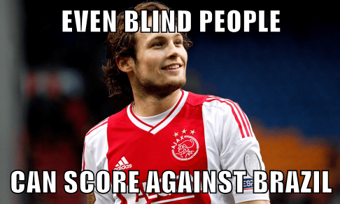 EVEN BLIND PEOPLE  CAN SCORE AGAINST BRAZIL