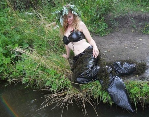 costume,garbage bags,poorly dressed,mermaid,trash bag,g rated