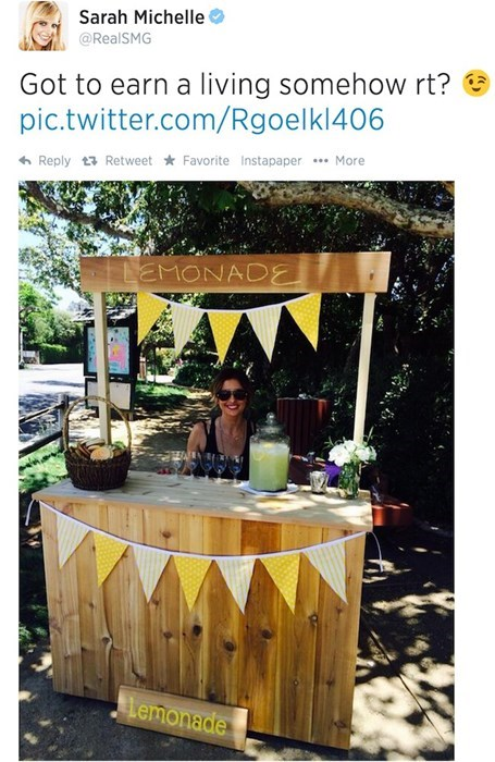 for sale,lemonade,twitter,Sarah Michelle Gellar