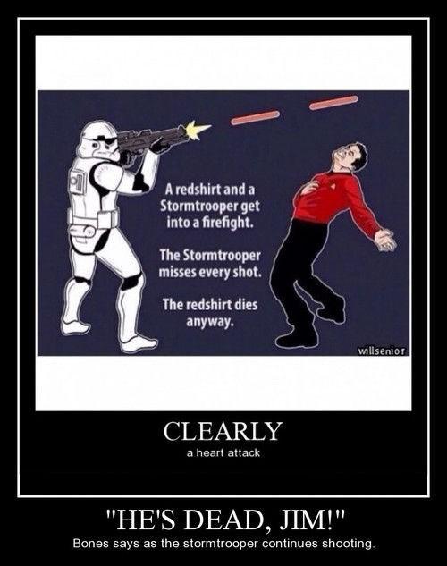 funny red shirt stormtrooper Star Trek star wars - 8255414016