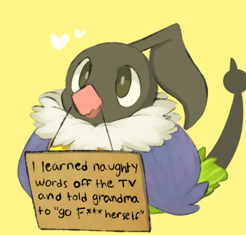 """Cartoon - 1 learned naugnty words off Hhe TV and told grandma to """"go F*** herse lf"""""""