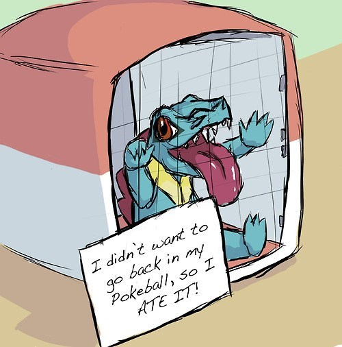Cartoon - I didn't want to go back in my Pokeball, so ATE IT!