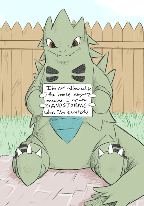 Cartoon - Tm not allowed in the house anymor because I crat SANDSTORNS whun I'm excited