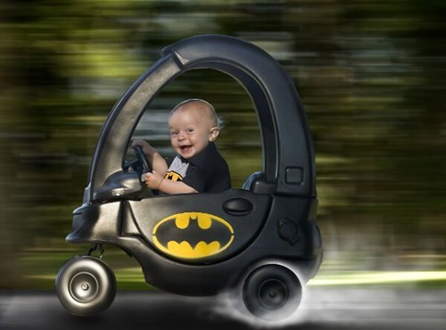 cozy coupe,baby,batmobile,photoshop,parenting,batman